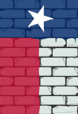A white brick wall with the flag of Texas painted in red white and blue with paint drip marks Stock Photo