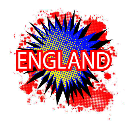 A comic cartoon style England exclamation explosion in red white and blue over a white background