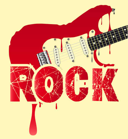 A traditional rock guitar melting down with the text ROCK