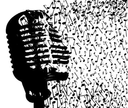 Abstract old style microphone disintigrating into musical notes over a white background