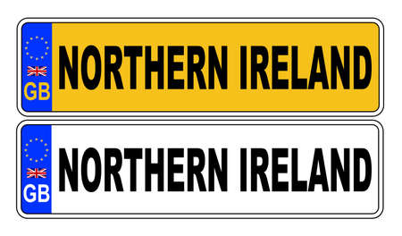 The UK Eu number plate front and rear over a white background with Northern Ireland text on both