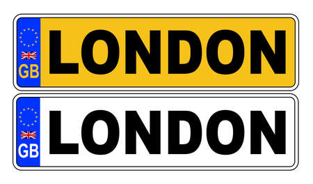 The UK Eu number plate front and rear over a white background with London text on both