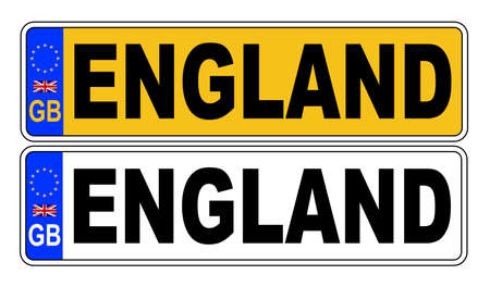 The UK Eu number plate front and rear over a white background with ENGLAND text on both