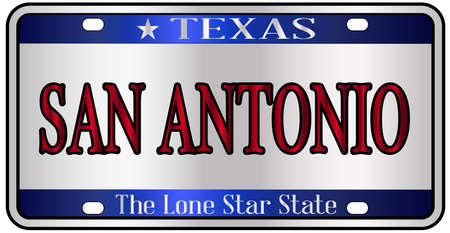 San Antonio Texas state license plate mockup spoof over a white background