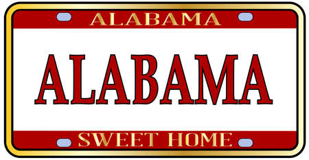 Alabama state license plate in the colors of the state flag with the state name over a white background Stockfoto - 103263815