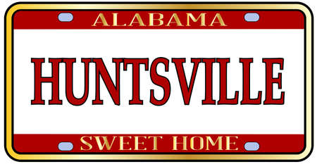 Huntsville Alabama state license plate in the colors of the state flag with the state name over a white background Stockfoto - 103263817
