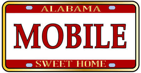 Mobile Alabama state license plate in the colors of the state flag with the state name over a white background