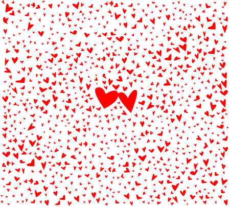 A red love hearts background with a pair of slightly larger hearts in the middle of the card