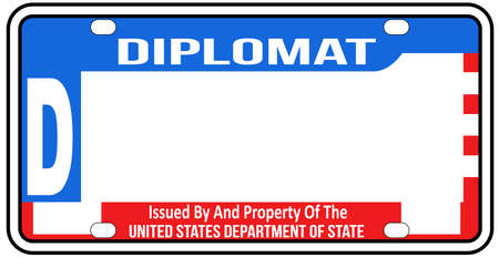 A blank United States of America diplomatic licence plate over a white background Illustration