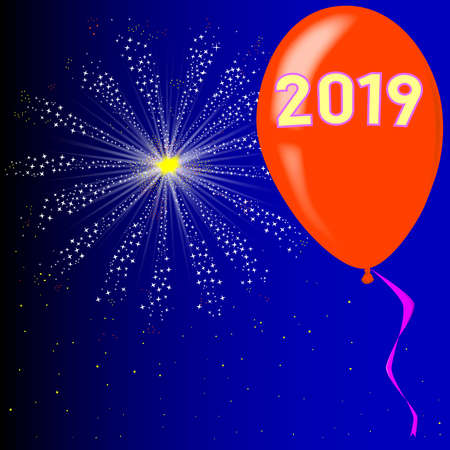 A flyaway red balloon with a skyrocket explosion with fallout and the legend 2019 Ilustrace