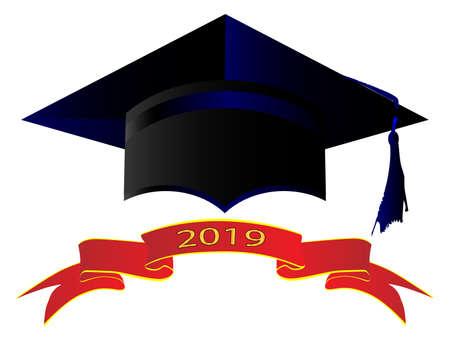 Eine Universitätsmütze mit Banner mit 2019 Vektorgrafik