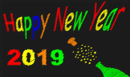 A worn out old blackboard with a happy new year message for 2019and a bursting bottle of bubbly