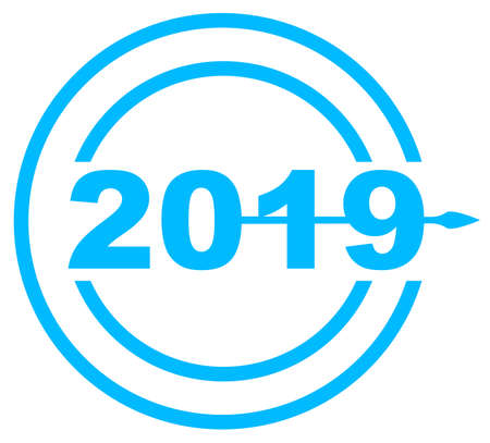 A clock hand pointing over a blue 2017 date icon Illustration