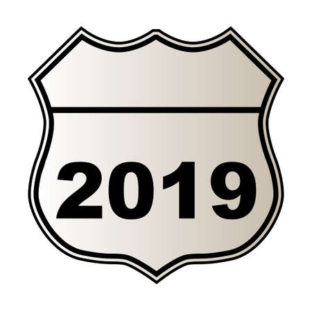 Traffic sign over a white background and the legend 2019