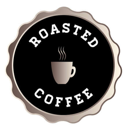 A round roasted coffee idolated button with text