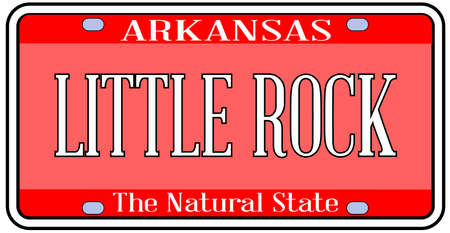Arkansas state license plate in the colors of the state flag with the capital Little Rock text over a white background