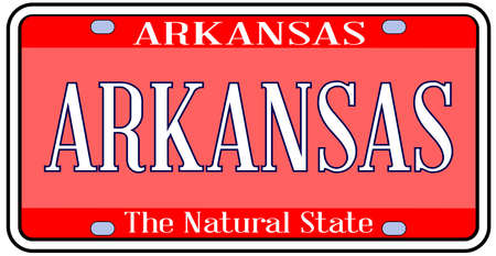 Arkansas state license plate in the colors of the state flag with Arkansas text over a white background Stock Illustratie