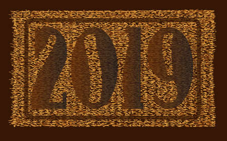 A typical coconut doormat over a white background with the 2019 New Year date