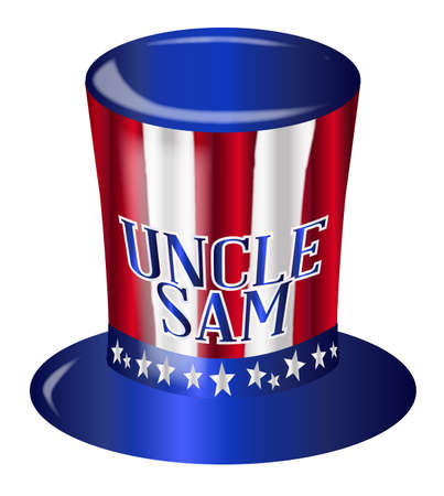 A top hat with a star spangled banner colors and stars over a white background with the legend Uncle Sam