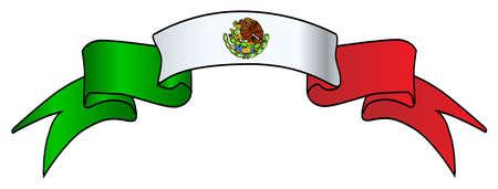 Un ruban d'icône du Mexique en satin rouge et vert