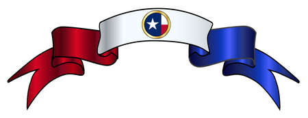 A red white and blue satin Texas flag icon ribbon