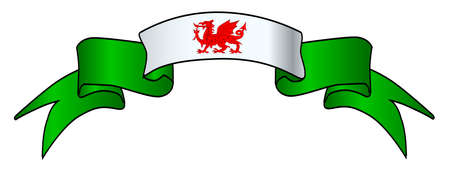 A white and green satin Welsh icon ribbon over a white background