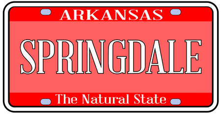 Arkansas state license plate in the colors of the state flag with the city Springdale text over a white background Vettoriali