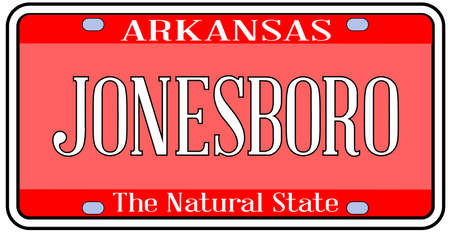 Arkansas state license plate in the colors of the state flag with the city Jonesboro text over a white background Stock Illustratie