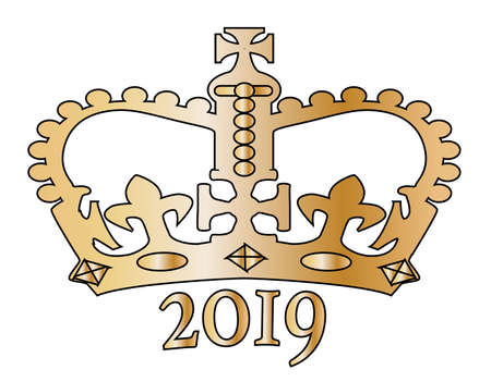 A golden crown with the year 2019 below all isolated on a white background