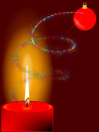 A candle for Christmas in red with fairy dust and a Christmas tree bauble Фото со стока