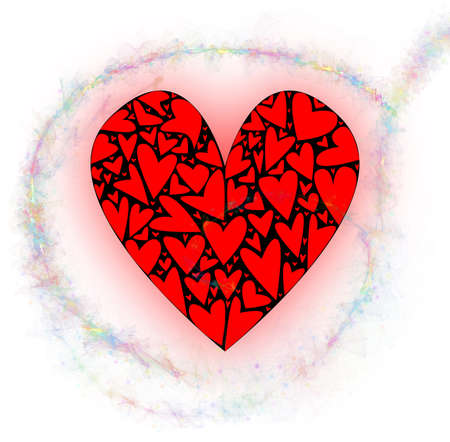 A large heart made up of several smaller hearts against a white background with pixie dust trailer Imagens