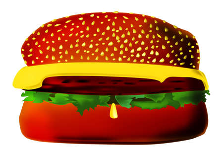 An extra size burger on a white background Stock Photo