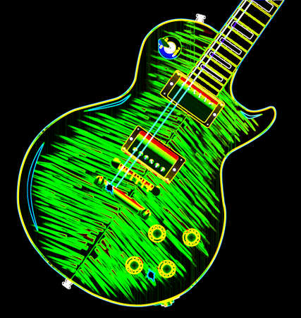 The definitive rock and roll guitar with a neon style top isolated over a white background.