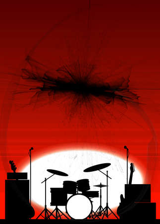 Silhouette of a rock bands equipment on stage as a poster background