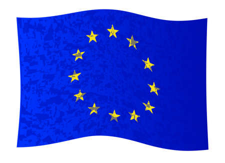 Flag of the European Union with blue background and yellow stars with grunge waving effect