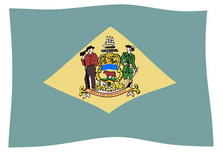 The flag of the US state od Delaware waving