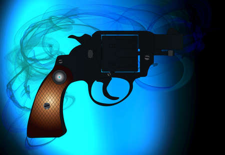A snub nose handgun as used by police forces with a smoke background Stock Photo