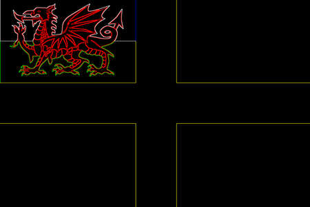 The flag of Saint David, a black and neon background with a yellow cross with the welsh dragon inset.