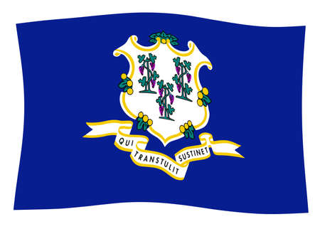 The seal of the USA state of Connecticut over a white background waving