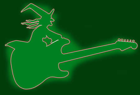 A green witch sitting on a flying electric guitar