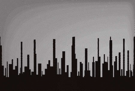 A cityscape in black circles with a illusion sky all as a background Stock Photo
