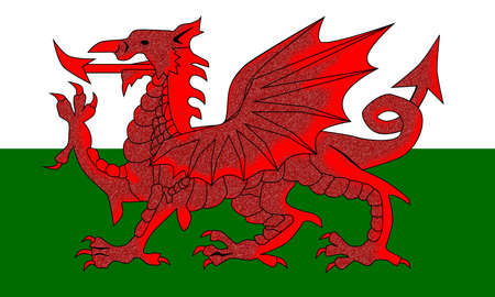 The national red dragon flag of Wales