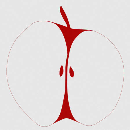 A typical apple sketch cut in half set against a gray background Stock Photo