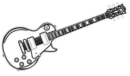 The definitive rock and roll guitar in outline isolated over a white background. Stock Photo
