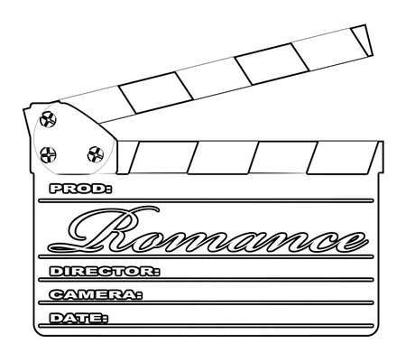 A typical movie clapperboard with the legend ROMANCE isolated