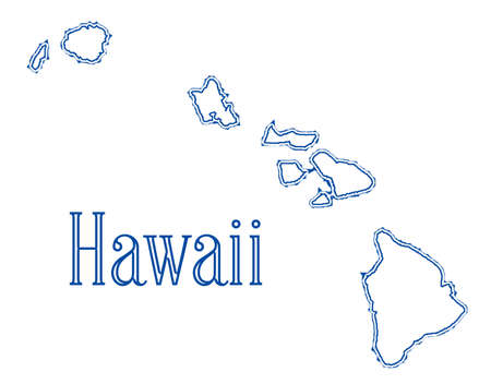 Outline map of the islans of Hawaii over a white background