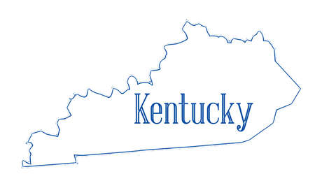 State map outline of Kentucky over a white background Stok Fotoğraf