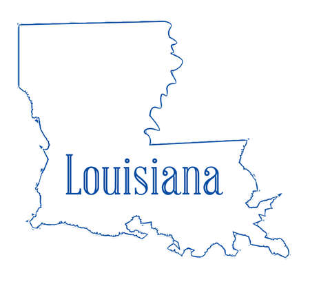 State map outline of Louisiana over a white background