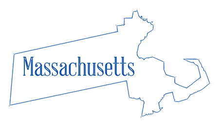 State map outline of Massachusetts over a white background Imagens
