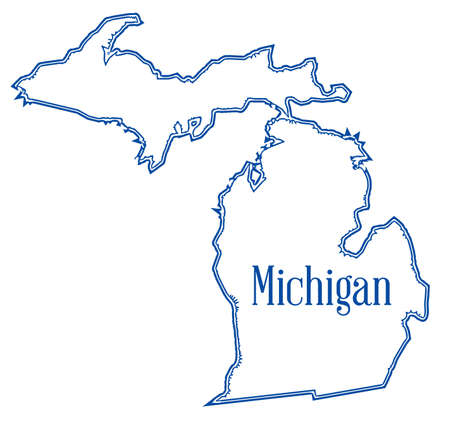Outline map of the state of Michigan